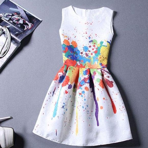 Women Artsy Color Splash Dress Brand New